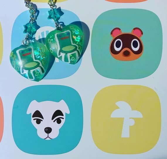 Animal Crossing Froggy Chair Earrings Handmade Resin Jewelry Etsy In 2020 Animal Crossing Quirky Earrings Animal Crossing Leaf