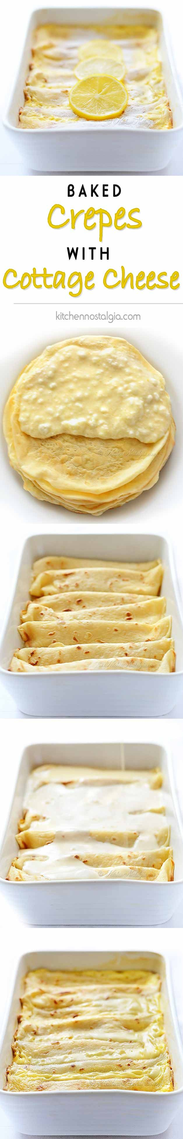 Baked Pancakes with Cottage Cheese - Crepes stuffed with cottage cheese / lemon zest / vanilla filling and sour cream topping; Croatian Palachinka by kitchennostalgia.com