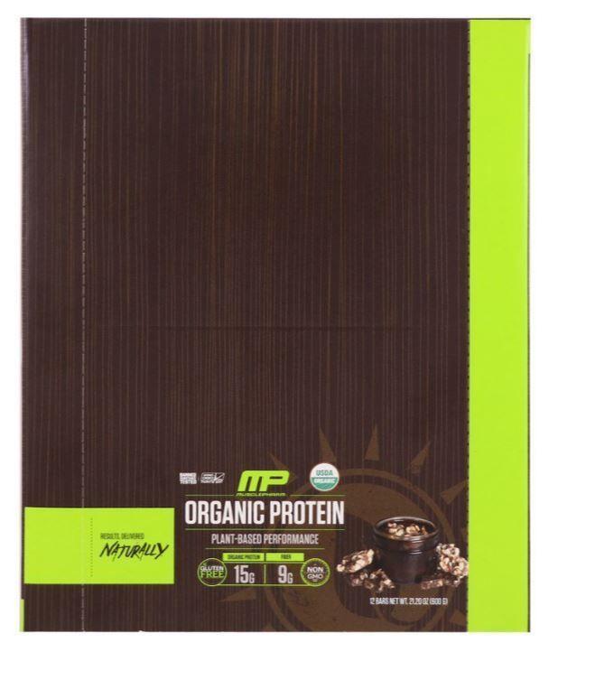 Organic Protein Bar Chocolate Toffee Flavor 12 Bars 21.20 oz Box Gluten Free #MusclePharm