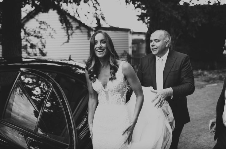 Liv in her stunning Pallas Couture gown arrives to marry Nath at Coombe Yarra Valley. Celebrant: Sally Hughes Image: Beck Rocchi Photography
