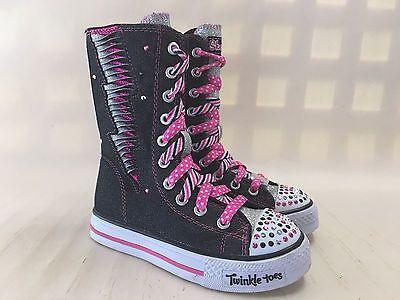 10436L-Girls-Skechers-Light-Up-High-Top-Boots-Black-Hot-Pink