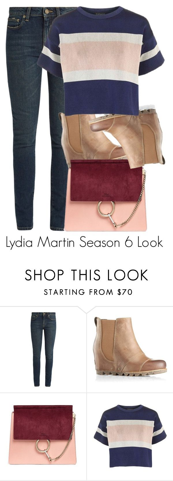 """""""Lydia Martin Season 6 Look"""" by tynestar ❤ liked on Polyvore featuring Yves Saint Laurent, SOREL, Chloé and Topshop"""