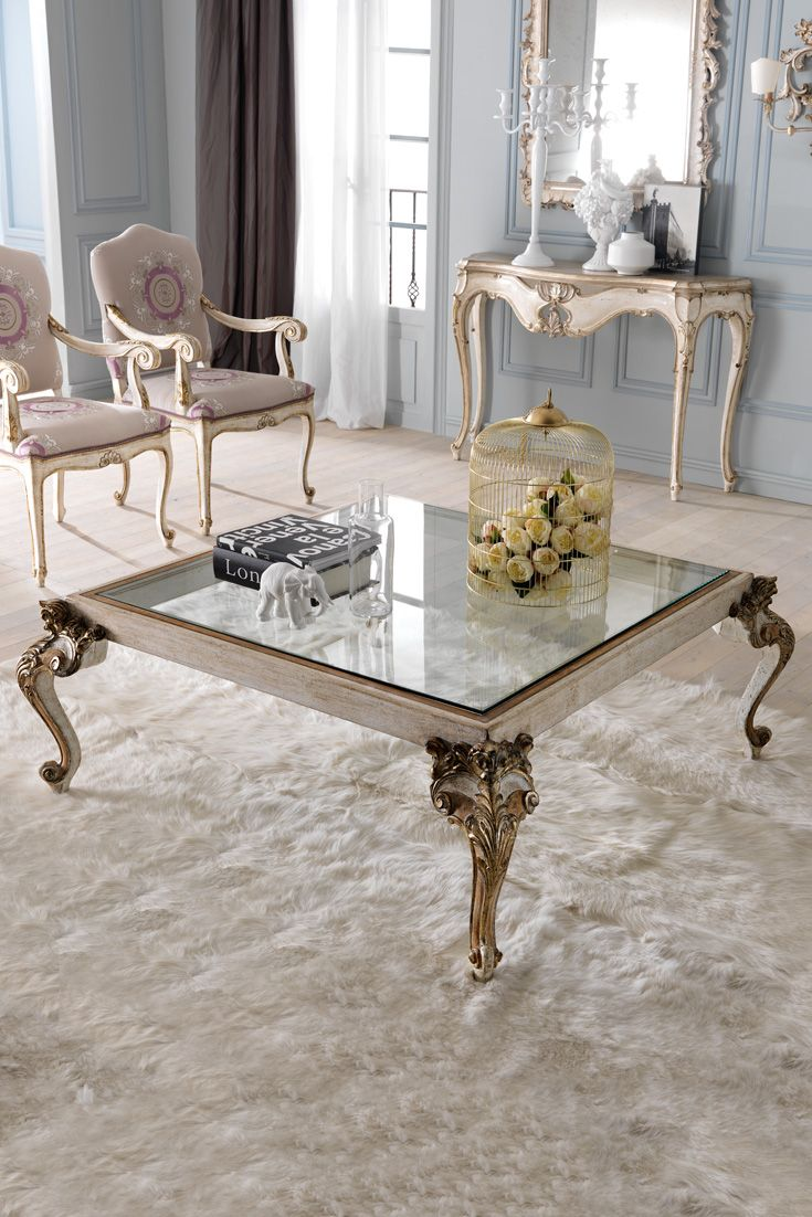 Italian Designer Classic Square Glass Coffee Table Luxury