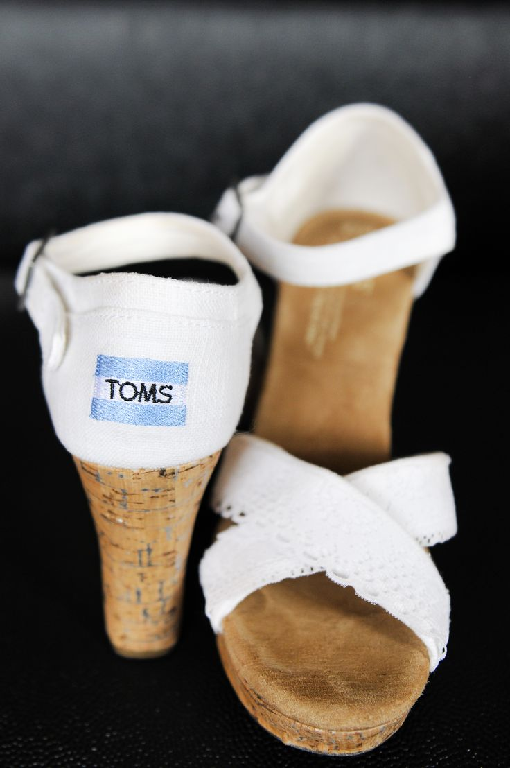 Love these Toms wedges with a DIY lace strap added for her wedding day!