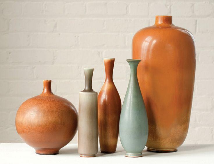 Berndt Friberg´s unique stoneware vases for Gustavsberg, Sweden, ca.1960s. / Design Miami