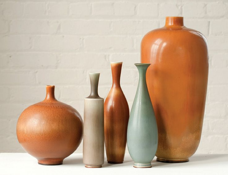 Berndt Friberg´s unique stoneware vases for Gustavsberg, Sweden, ca.1960s. / Design Miami