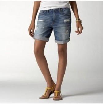 Джинсовые шорты женские по колено купить