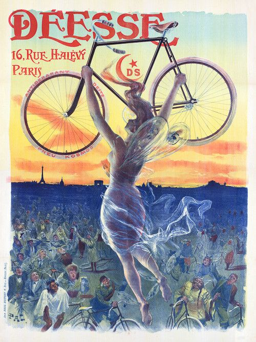 Déesse. 16, rue Halévy, Paris. Goddess of the bicycle. Illustrated by Jean de Paleologue, c. 1898. Vintage French poster.