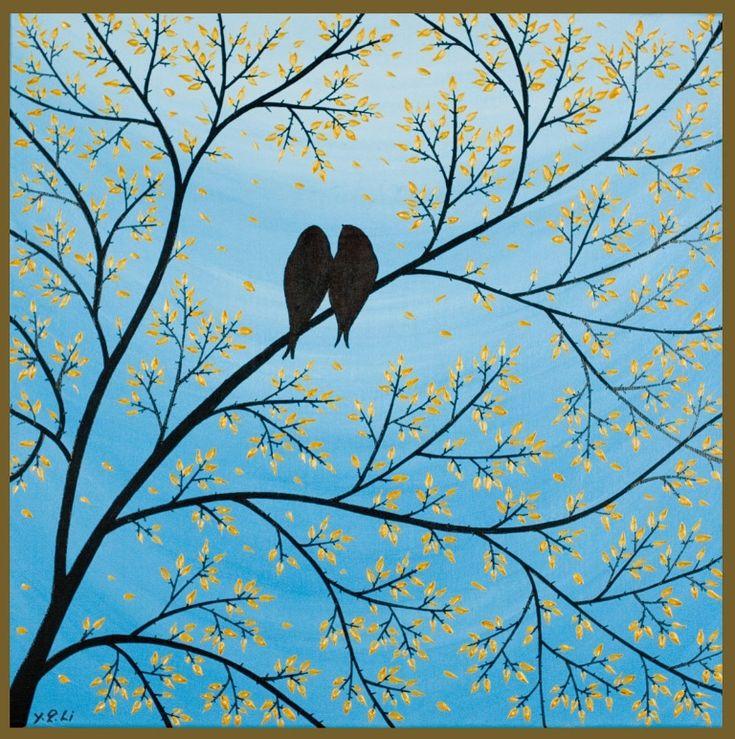 "bird art | Love bird art: ""Forever"" - birds sitting in ..."