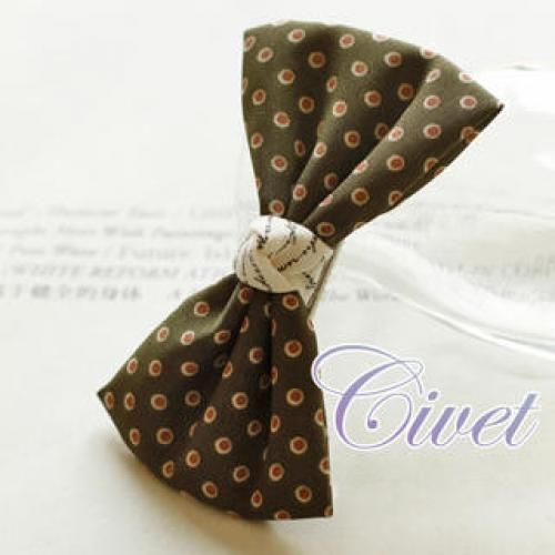 Dotted Bow Barrette Green - One Size