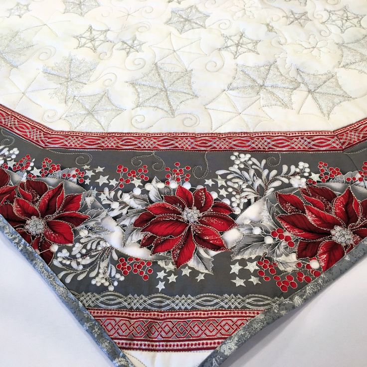 Large Christmas Tree Skirt Quilt Red And Silver Poinsettias Elegant 67 Inch Holiday Quilted Quiltsy Handmade