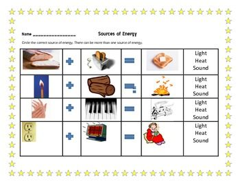 Worksheet Sources Of Heat Worksheet For Children 29 best energy images on pinterest science ideas teaching sources of energy