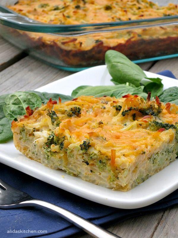 Broccoli Cheddar Hash Brown Bake | alidaskitchen.com