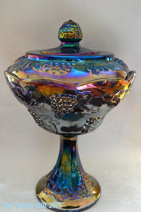 Indiana Glass Harvest  Blue Carnival Glass Compote, Harvest Grape, Wedding Bowl, Candy Dish c. 1956-