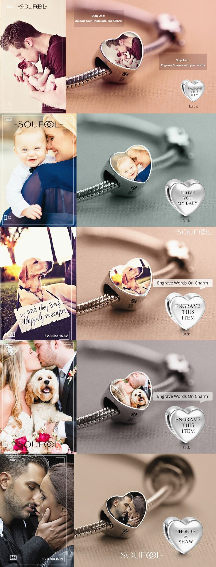 Make a Charm Bracelet with Your Photo in the Front & Engrave Some Words You Wanna Say on the Back.
