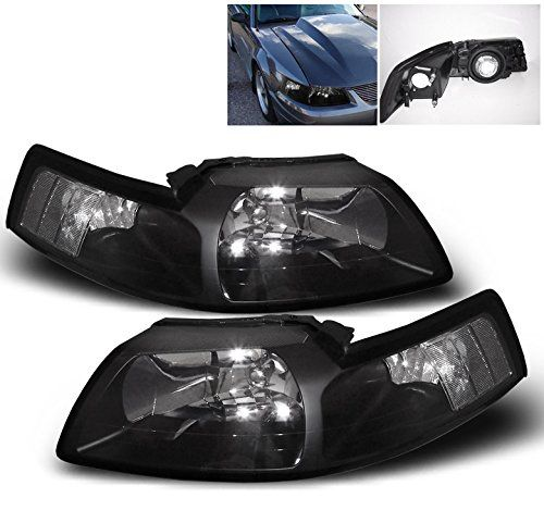 ZMAUTOPARTS Ford Mustang Crystal Headlight Lamp Black Housing GT SVT Cobra. For product info go to:  https://www.caraccessoriesonlinemarket.com/zmautoparts-ford-mustang-crystal-headlight-lamp-black-housing-gt-svt-cobra/