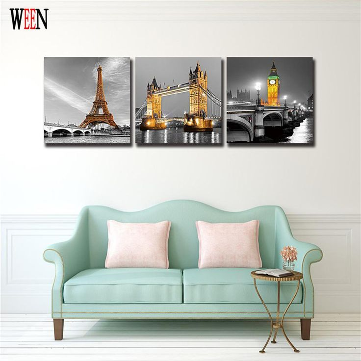 Modern City Canvas Art With Framed Directly Handed Print Poster Night Bridge Wall Pictures For Living Room Home Decor 2017 New #Affiliate