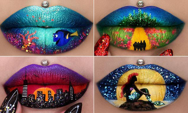 Makeup artist Miss Jazmina D, from Sydney, has shot to fame on Instagram for her amazing lip art. Her most popular looks include Dory, Wizard of Oz and The Little Mermaid inspired art.