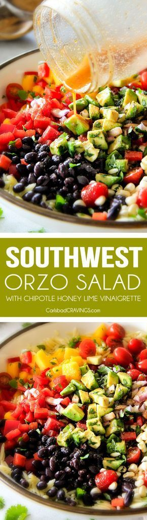 This Southwest Orzo Salad is SO good I was craving it for days! Its my new go-to potluck side loaded with mangoes, black beans, corn, peppers and avocado but the BEST part is the Chipotle Honey Lime Vinaigrette! And I love that you can make it ahead of time!