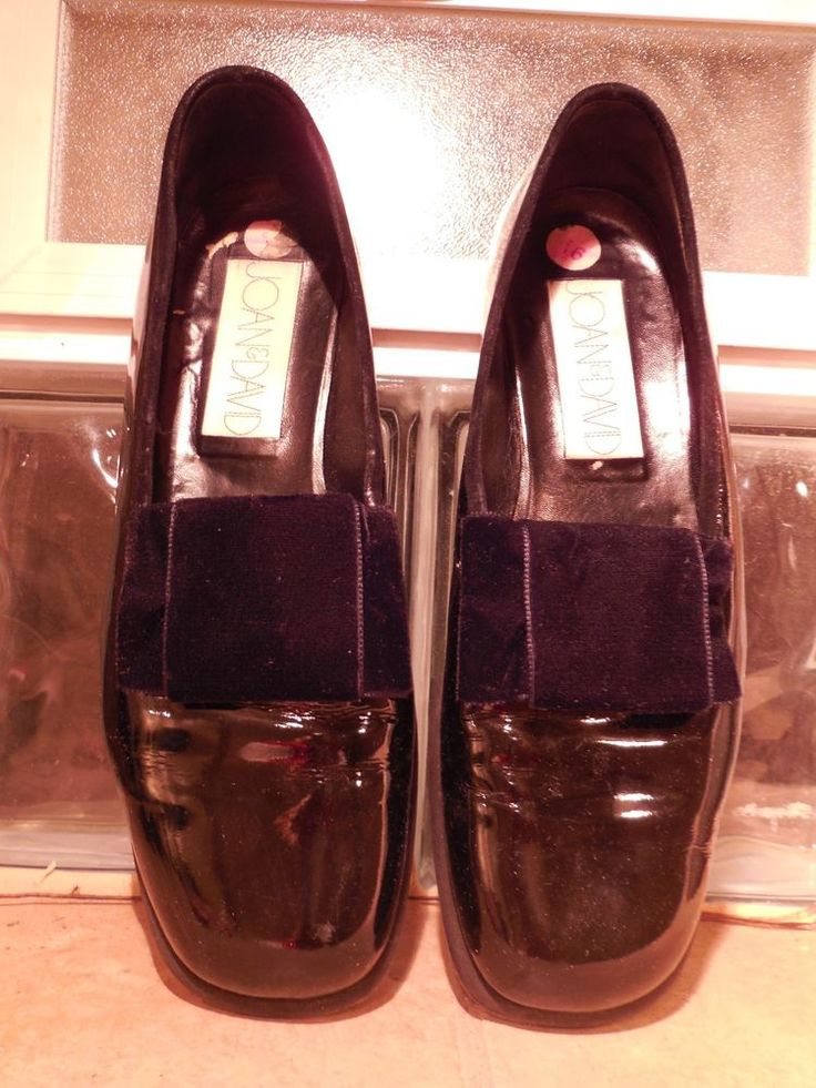 WOMENS BLACK PATENT LEATHER BALLET BOW LOAFER JOAN & DAVID 39.5 9.5M MADE…
