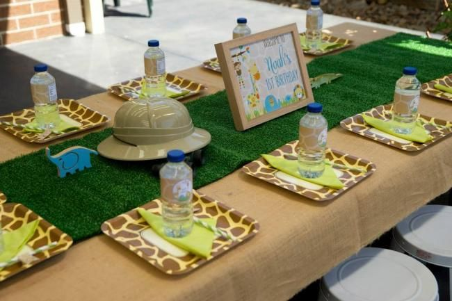 A Little Boy's First Jungle Safari Birthday Party | Spaceships and ...