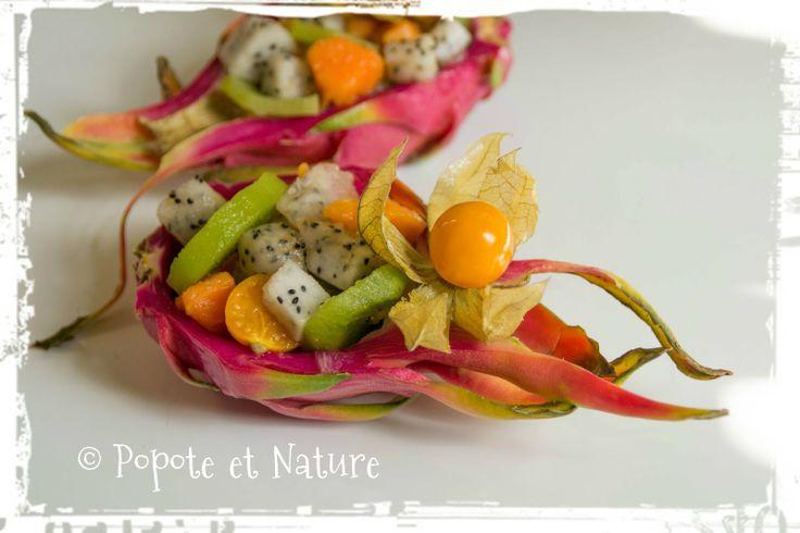 © Popote et Nature - Salade fraîche de fruits exotiques au fruit du dragon (pitaya)