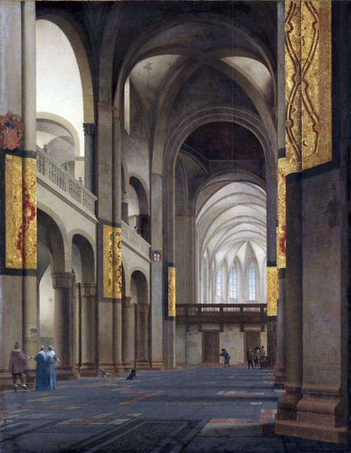 Pieter Saenredam -The nave and choir of the Mariakerk in Utrecht (1641).