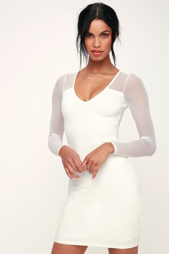 7e0c6bae9698 Make your night out extra special in the Lulus Parisian Nights White Mesh Long  Sleeve Bodycon Dress! This sexy, knit bodycon dress starts at a V-neckline,  ...