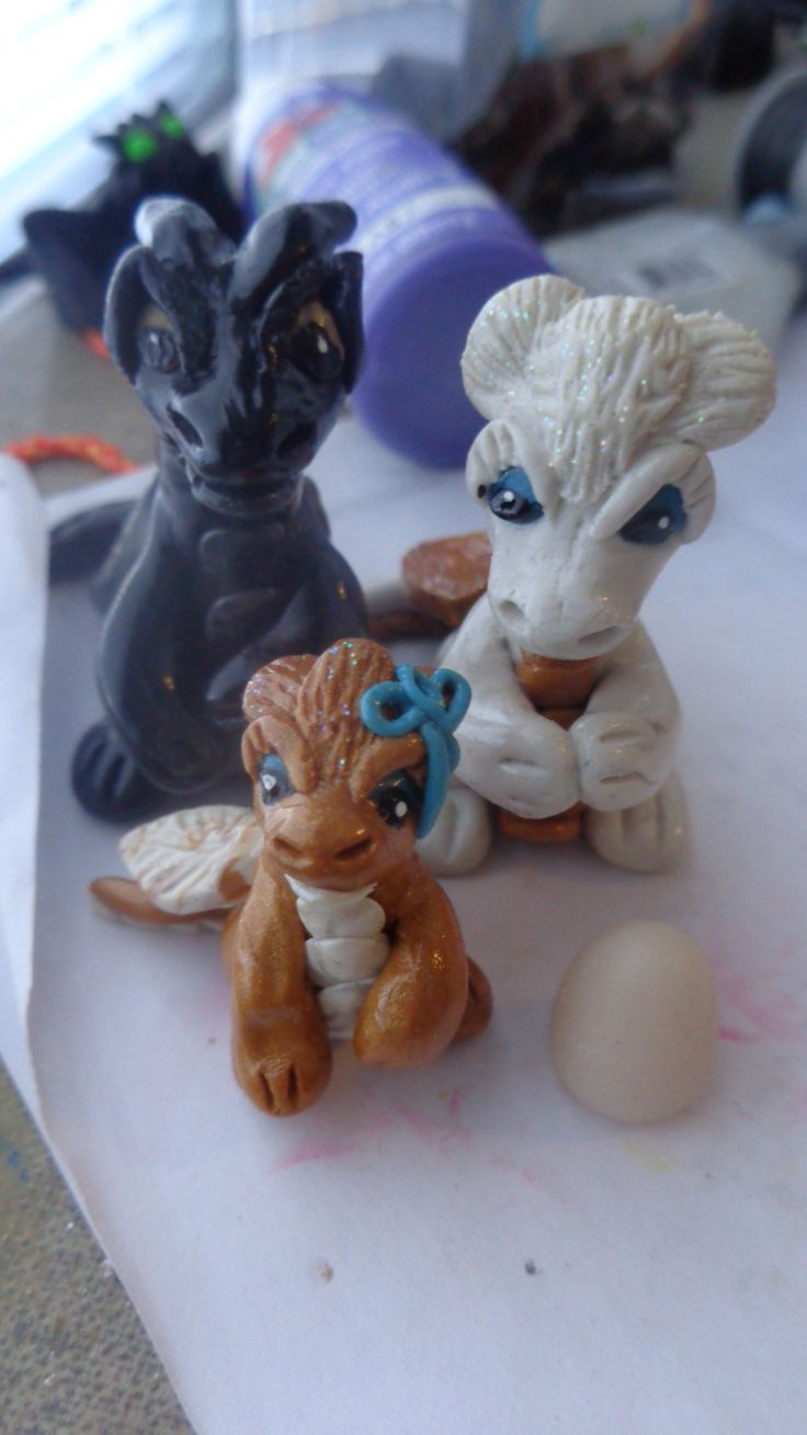 Custom Order Dragon Family -  Daddy, Mama, Sister, Unborn Egg.    https://www.etsy.com/shop/ZAsClayCritters?ref=hdr_shop_menu  https://www.facebook.com/pages/ZAs-Clay-Critters/266554163544718