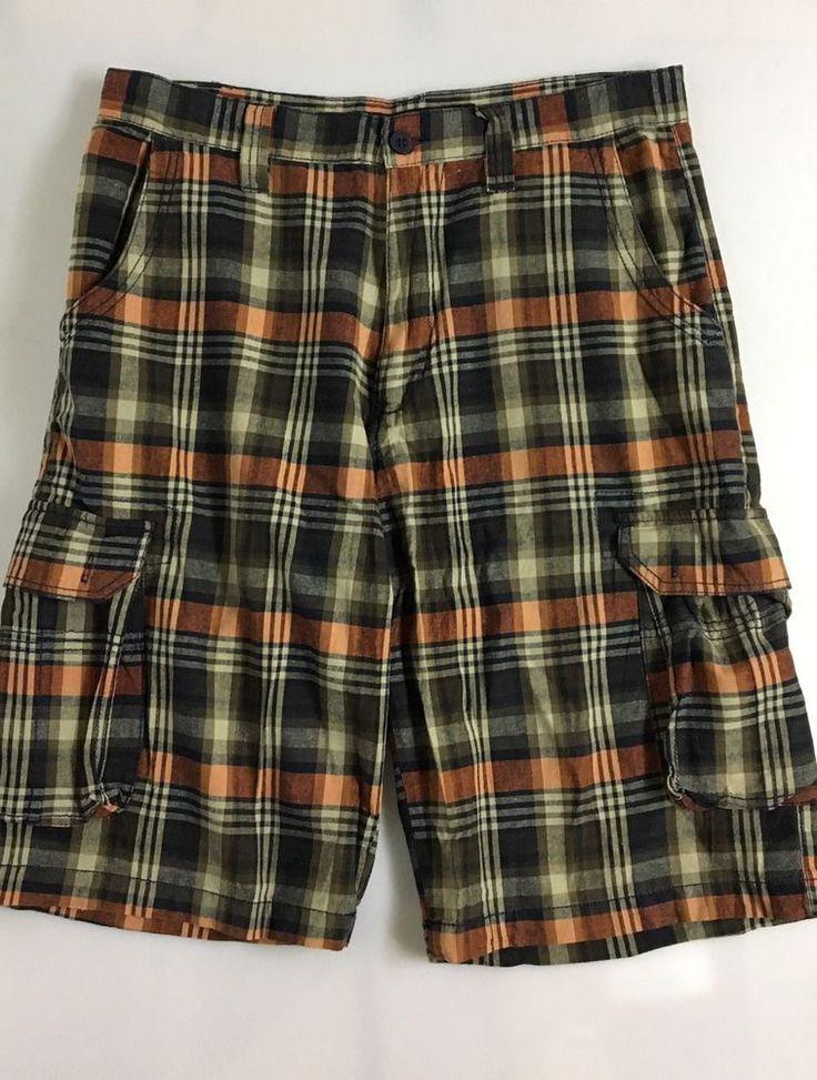 Beverly Hills Polo Club Mens Plaid Shorts Size 32 / 100% Cotton 5 Pocket Cargo #BeverlyHillsPoloClub #Bermuda