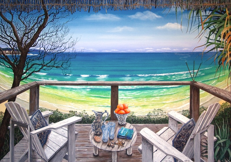 Melaluca: Large painting on canvas. Inspired by a customer's deck overlooking one of Sydney's Northern Beaches.
