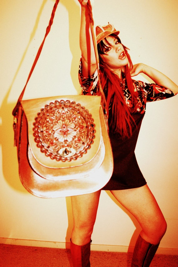 HIPPY hand TOOLED LEATHER Handbag Saddlebag Purse 1960s 70s Tool Brown ...