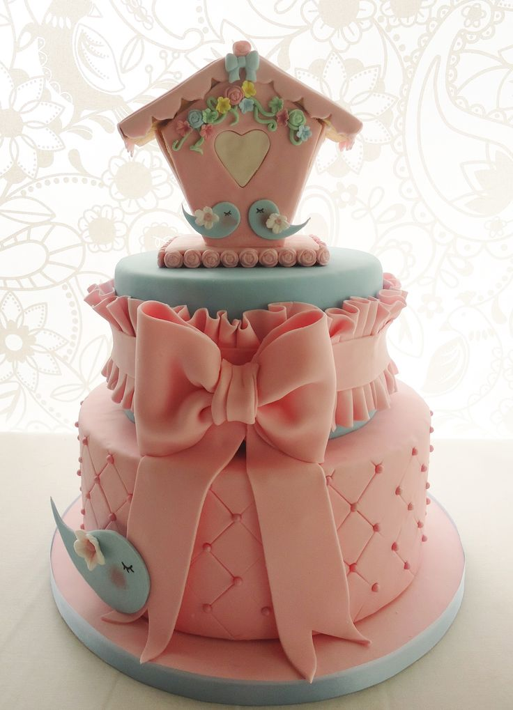 Charming birds II Pink and blue cake