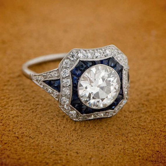 Estate Diamond and Sapphire Ring. BEAUTIFUL!