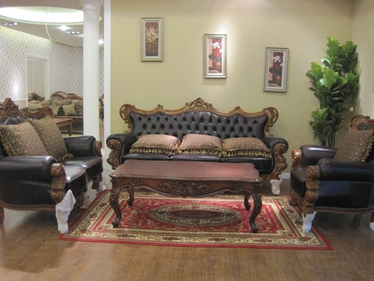 Living Room Furniture American Style Traditional Design With Leather Sofa And Wooden Coffee Table Also Area Rug Ideas