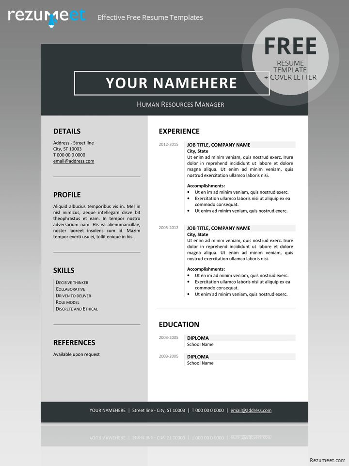 diploma resume format%0A Free clean resume template