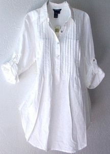 New $88 Max Studio Long White Ivory Linen Tunic Shirt Blouse Top 8 10 M Medium | eBay