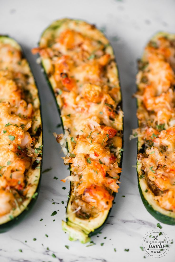 Shrimp Zucchini Boats with succulent pieces of shrimp and artichokes topped with…