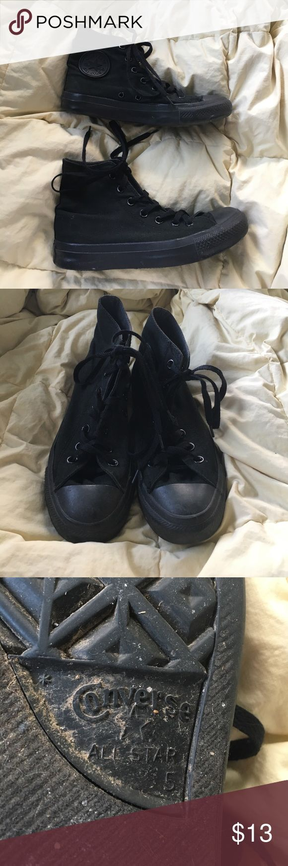 Black High Top Converse No trades. Size mens 5 or womens 7. All black high top converse. Worn a lot but are in great shape. Doesn't come with original box. Converse Shoes Sneakers