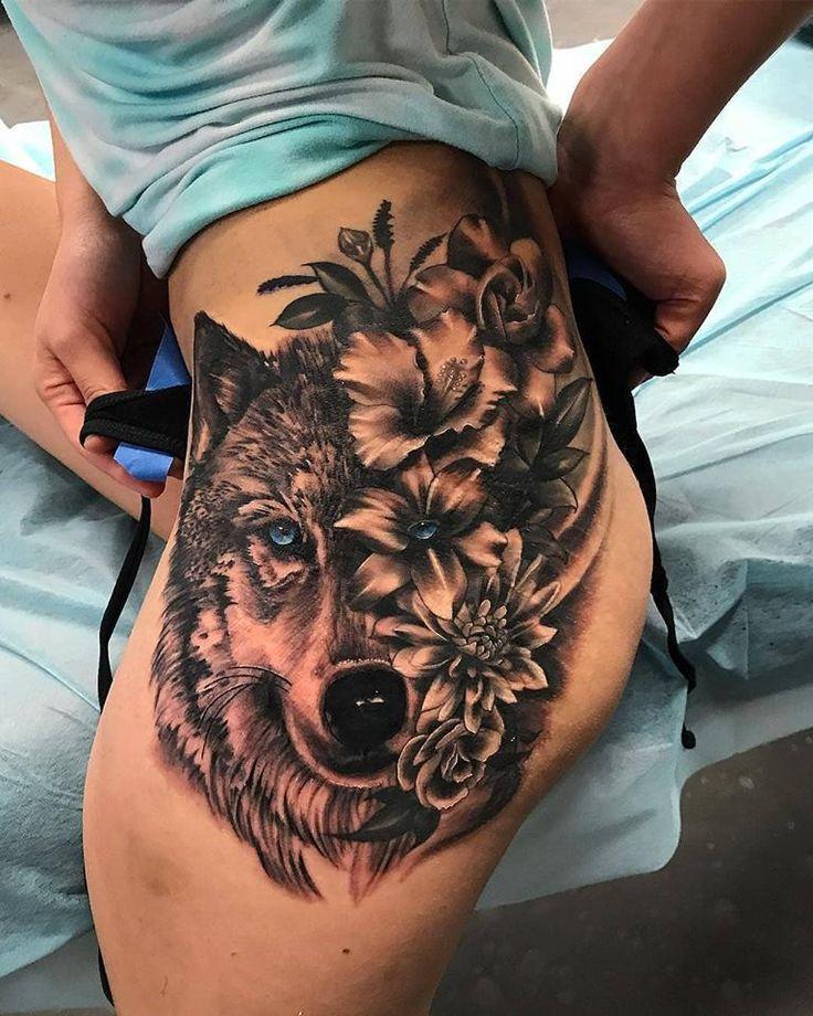 Womens Wolf Tattoo Thigh Tattoos Women Wolf Womens Thigh: Powerful Wolf And Flower Tattoos On Thigh