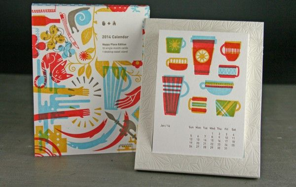 3/28/14 Studio on Fire made a diecut printed calendar with a set of great graphics to fit inside a custom holder