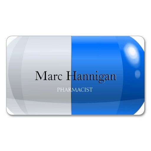 PHARMACIST - blue pill pharmacy Double-Sided Standard Business Cards (Pack Of 100)