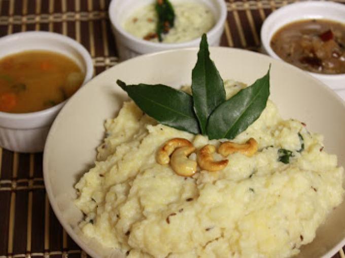Recipe Main Dish : Ven pongal with sambar, chutney and tamarind gojju by Pavithra