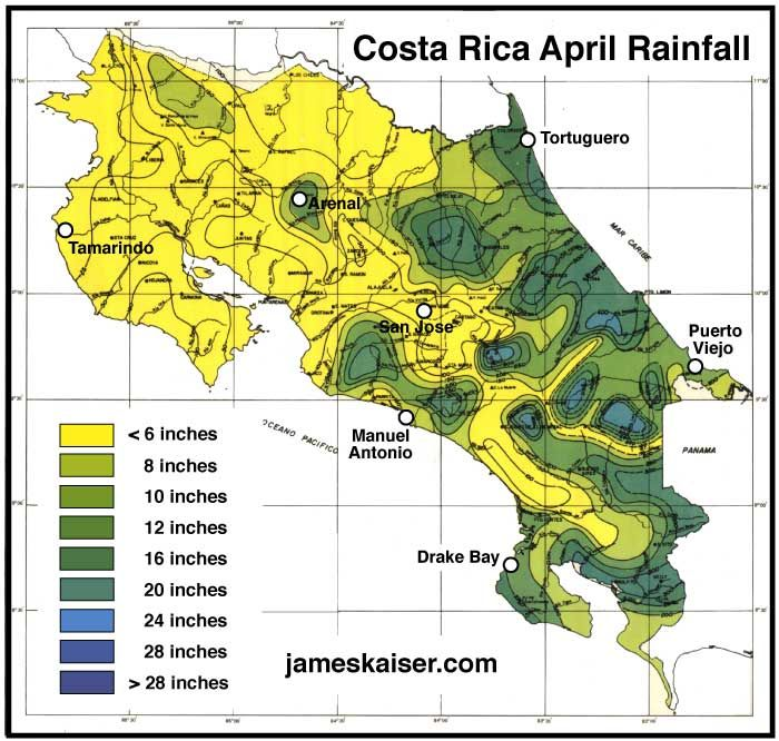 costa rica weather map Costa Rica Weather In April A Great Time To Visit Costa Rica costa rica weather map