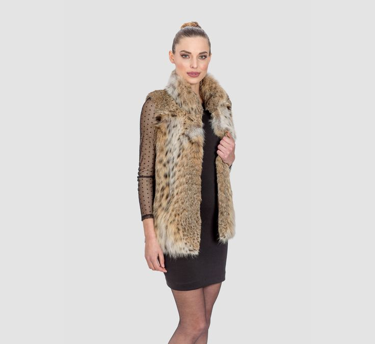 Cat Lynx Fur Short Vest      #lynx #fur #vest#classy #elegant#luxury #fur #coat #lynx #design #dress #style #fashion #mexa #furgilet