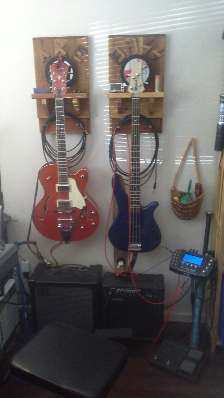 Guitar and Bass wall hangers.