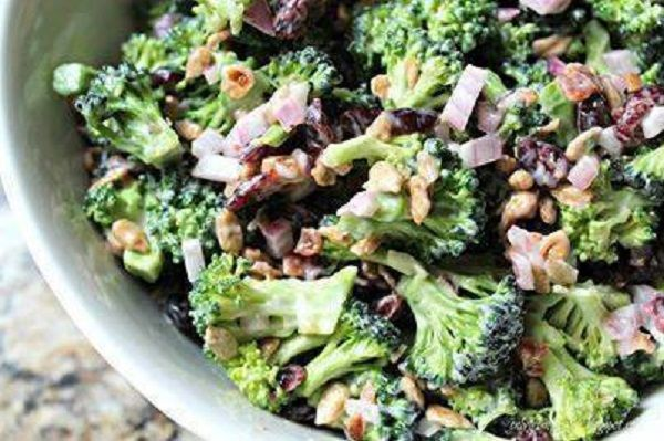 Ingredients:  7 cups fresh broccoli florets  6 slices bacon, cut into bite-size pieces  1/2 cup raisins  1/4 cup finely chopped red onions  1/4 cup sunflower kernels    Dressing:  1 cup mayonnaise  2 tablespoons balsamic vinegar  2 teaspoons sugar    Directions:  Combine all ingredients except dressing in large bowl.  Add