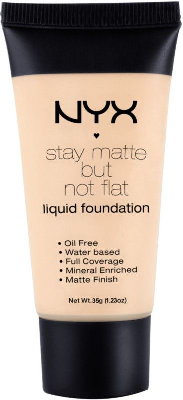 NYX Cosmetics Stay Matte But Not Flat Liquid Foundation provides full coverage with a mineral enriched matte finish and accommodates more skin tones than ever before. The oil-free and water-based formula is perfect for both day and nighttime wear.