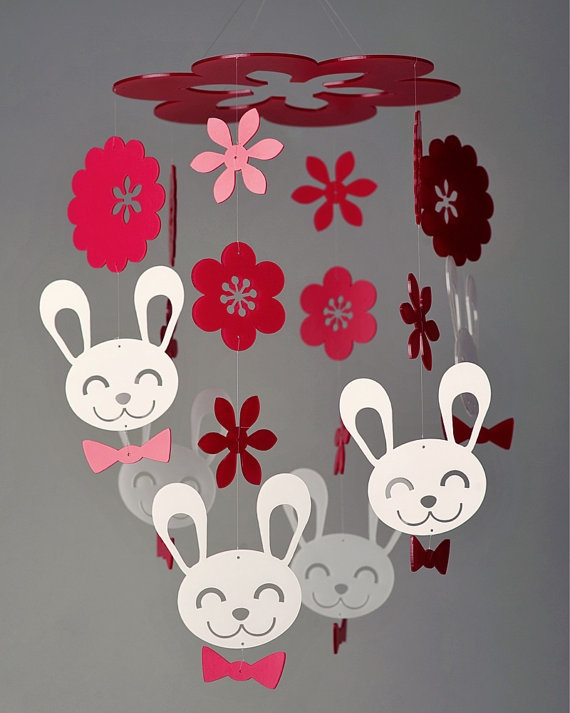 Spring Bunny Mobile Grand by daswooddesign on Etsy, $140.00