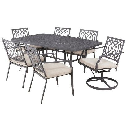 metal rectangular outdoor dining table. threshold™ harper 7-piece metal rectangular patio dining set outdoor table